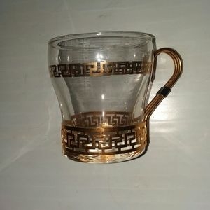 Libbey Gold Greek Key Glass Coffee Cups